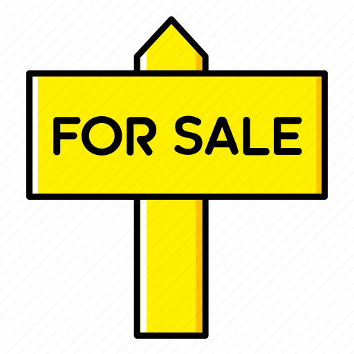 board, estate, home, house, real, sale, sign icon