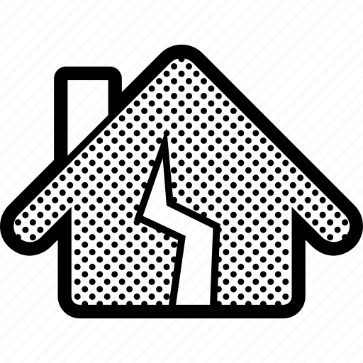 broken, damage, earthquake, home, house, repair icon