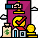 approval, approve, confirm, loan, money, stamp icon