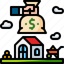estate, home, house, interior, money, real, renovation icon