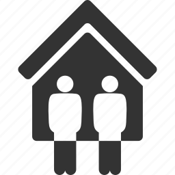 building, family, home, house, live, living room, people icon