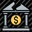 bank, broke, dollar, savings