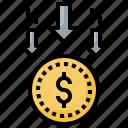 cash, coin, decrease, loss, money