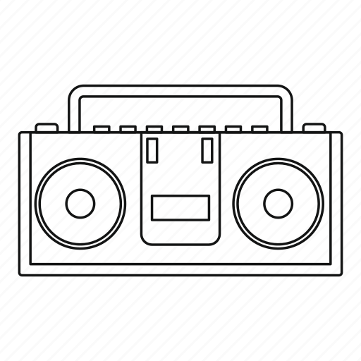 audio  boombox  line  outline  radio  sound  thin icon