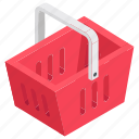 basket, grocery, grocery basket, handbasket, shopping basket icon