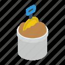 construction tools, digging tools, garden shovel, gardening tools, mud bucket icon