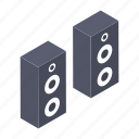amplifier speakers, audio device, loudspeakers, music system, sound system icon