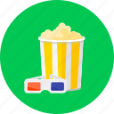 bowl of popcorn, cinema, cinema glasses, eat, entertainment, film, popcorn icon