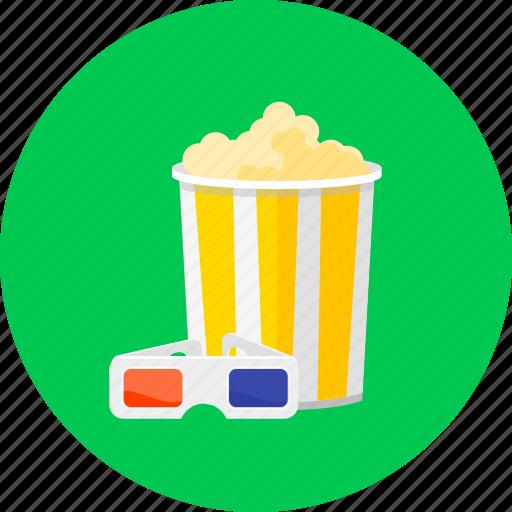 bowl of popcorn, cinema, cinema glasses, eat, entertainment, film, popcorn icon