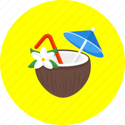 cocktail, coconut, coconut cocktail, drink, exotic, holiday, party icon