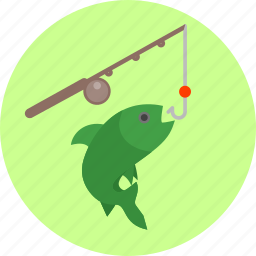 fish, fishing, fishing rod, hobby, hook, recreation, sport icon