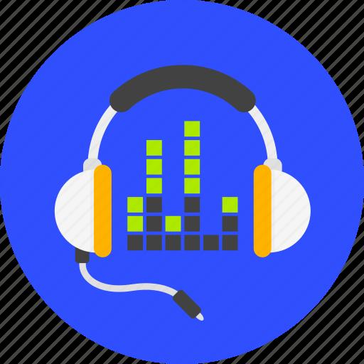 dj, headphones, media, multimedia, sound, to listen music, volume icon