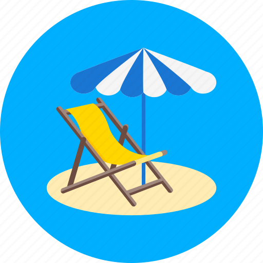 beach, sea, sunbath, sunbathing, sunbed, umbrella, vacation icon