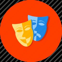 cinema, entertainment, film, hobby, masks, movie, theater icon