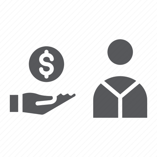 coin, dollar, finance, hand, payment, person, salary icon