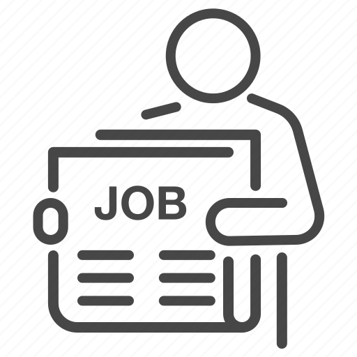 career, employment, finding, job, newspaper, read, search icon