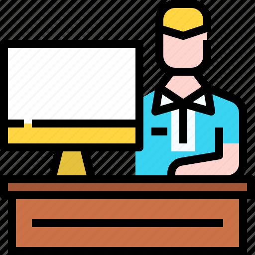 desk, desktop, education, employee, human, workplace icon