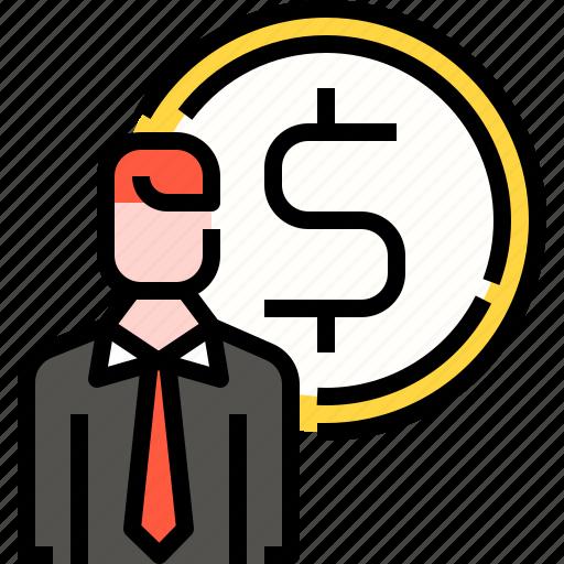 career, dollar, employee, finance, human, investment, user icon
