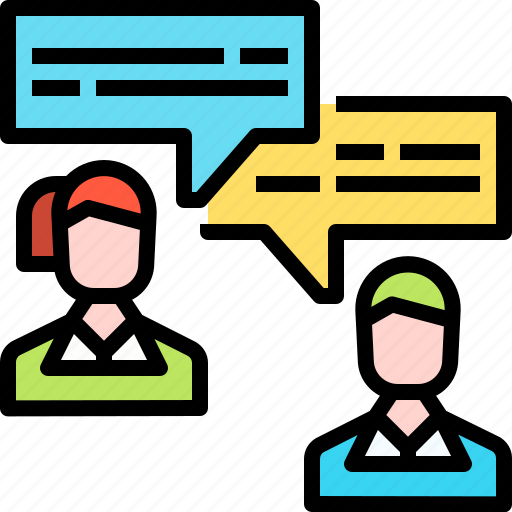 business, chat, employee, human resources, interview, jobs, talk icon