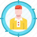 client, employee, headhunting, human resources, jobs, target icon