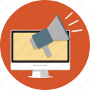computer, internet, loud, marketing, message, shout icon