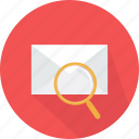 email, envelope, glass, interface, magnifying, message, searching