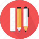 learning, material, pen, pencil, ruler, tool, writing icon