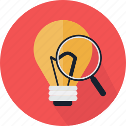 bulb, detective, idea, invention, magnifying glass, search, zoom icon