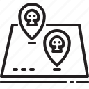 danger, entry, map, pin, refugee, skull, zone icon