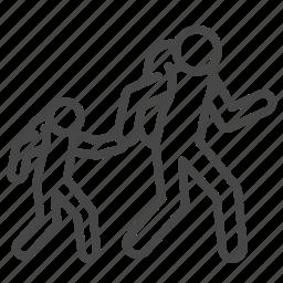 displaced, escape, evacuation, fugitive, refugee, son, walk icon