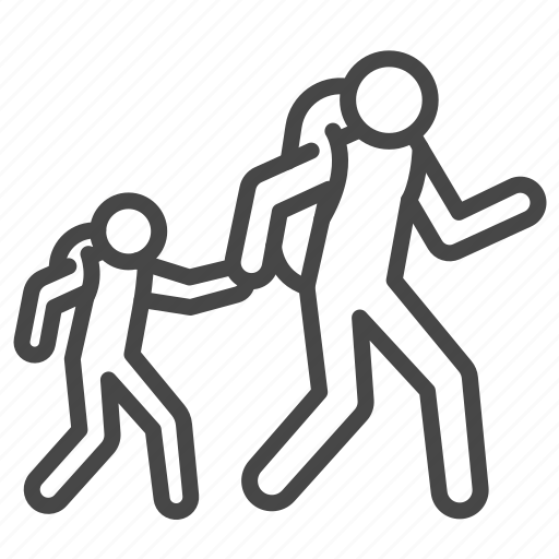 Displaced, escape, evacuation, fugitive, refugee, son, walk icon - Download on Iconfinder