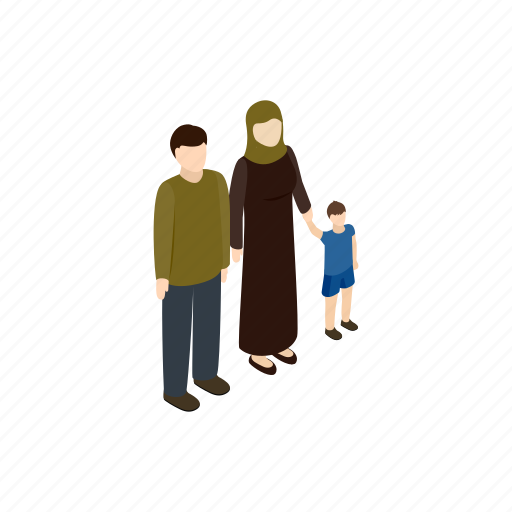 family, help, human, isometric, people, refugee, war icon