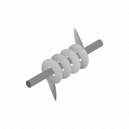 barbed, danger, isometric, protection, security, sharp, wire icon