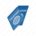 document, id, identification, identity, international, isometric, passport icon