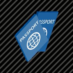 document, id, identification, identity, international, isometric, passport icon