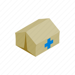 center, hospital, isometric, medical, mobile, refugees, tent icon