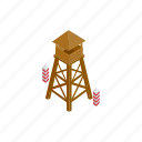camp, guard, high, isometric, military, safety, tower icon