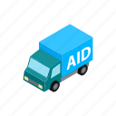 aid, ambulance, car, humanitarian, isometric, transportation, vehicle icon