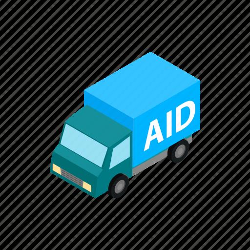 aid, ambulance, car, humanitarian, isometric, transportation, vehicle icon