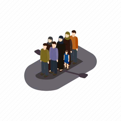 boat, help, immigrant, isometric, people, refugee, war icon