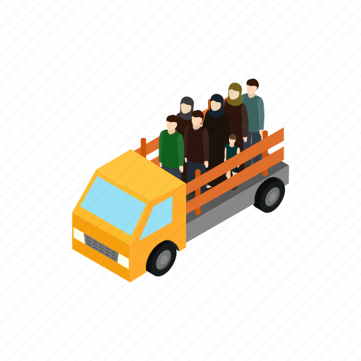 help, human, isometric, people, refugees, truck, war icon