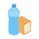 bread, drawing, food, isometric, meal, refugees, water icon