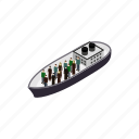 help, immigrant, isometric, people, refugees, ship, war icon