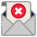 cancel, cross, envelope, mail, message, reject, remove icon