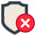 cancel, cross, protection, reject, remove, security, shield icon