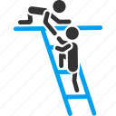 aid, climb, cooperation, help, ladder, pull, support icon
