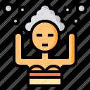 bubbles, hair, shampoo, wash, woman icon