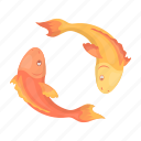attribute, carp, faith, koi, religion, sacred, silhouette icon