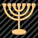 attribute, faith, judaism, menorah, prayer, religion, silhouette icon
