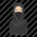attribute, faith, hijab, muslim woman, prayer, religion, silhouette icon